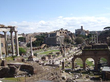 The view over Palatine Hill is spectacular