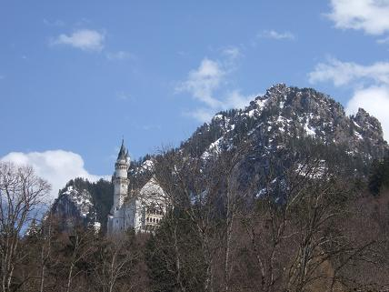 Neuschwanstein from afar, before the steady climb