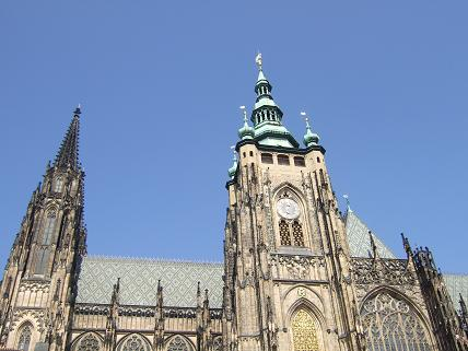 A wider shot of St Vitus Cathedral from inside the Castle grounds