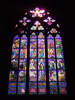 The stained glass inside St Vitus