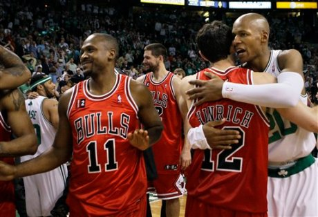 The Celtics and Bulls congratulate each other on a great series