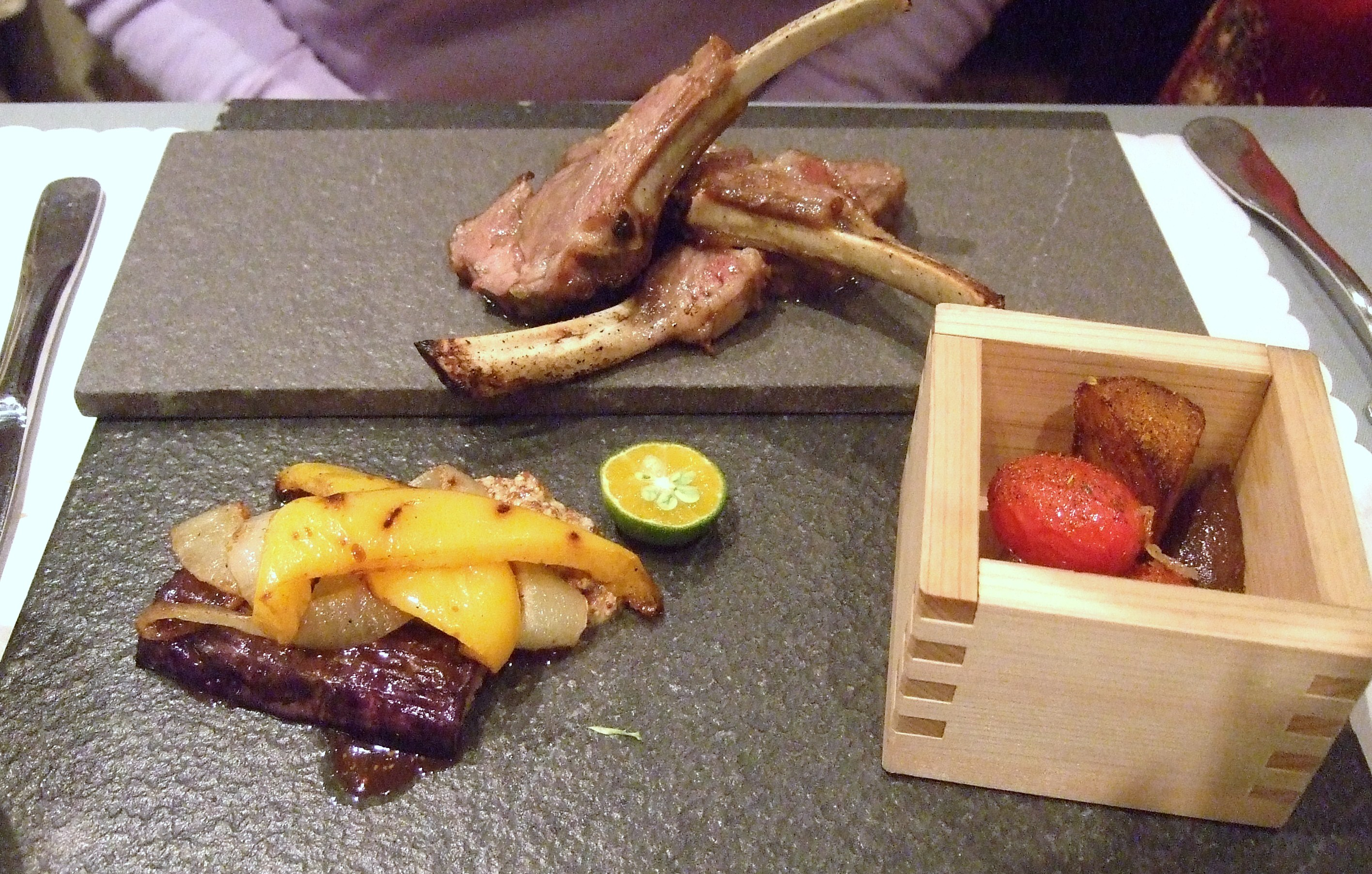 The Grilled Lamp Chop with Yuzu Pepper served with Seasonal Vegetables