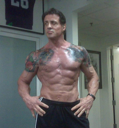 Stallone posing after a workout for the film